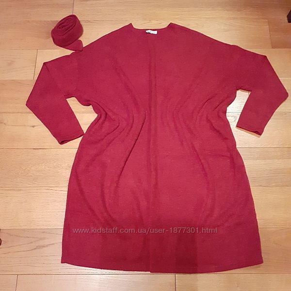 Платье oversize гранатового цвета