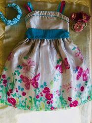 Брендовое. Яркое. Цветочное платье из органзы. Юбка супер- пышная на многос