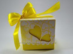 Желтые бонбоньерки, жовті бонбоньєрки на весілля