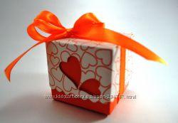 Оранжевые бонбоньерки коробочки