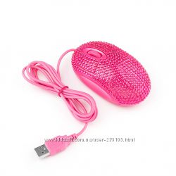 Компьютерная розовая мышка со стразами