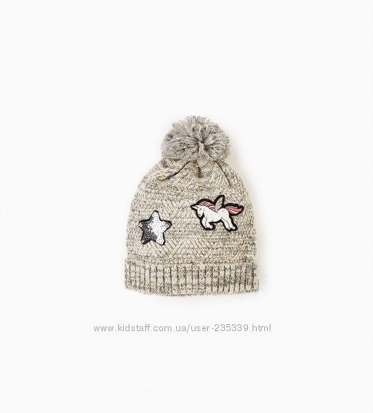 Деми шапка с единорогом для девочки ZARA, оригинал