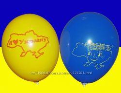 Латексные шары, желто-голубые, патриотические