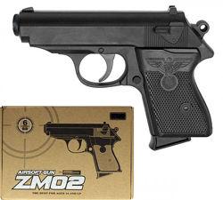 Детские металлические пистолеты ZM. Пневматические. Стреляют