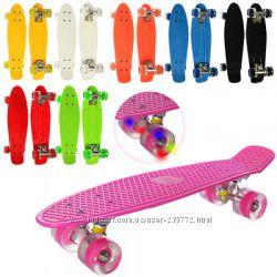 Скейт Пенни борд Penny board, светятся колёса MS 0848-2, разные цвета