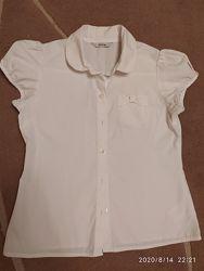 Белая школьная блузка с коротким рукавом George на 8-10 лет