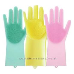 Силиконовые перчатки с губкой Silicone Dish Washing Gloves