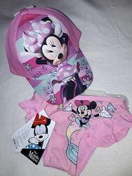 Плавки и панамка на 5-6 лет Минни Маус для девочки, летний комплект Minnie