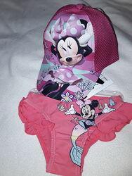 Комплект Минни Маус на 2-4 года плавки и кепка Minnie Mouse, девочке набор.
