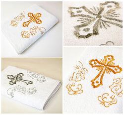 Lotus Крыжма полотенце для крещения ребенка с вышивкой 70x140 Белый