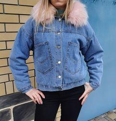 Зимняя джинсовая куртка с утеплителем