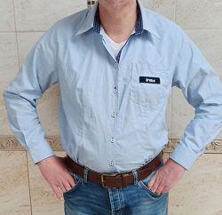Мужская рубашка с латками на рукавах
