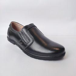 Черные кожаные школьные туфли мальчикам, р.31-36