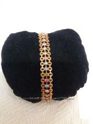 Браслет с разноцветными кристаллами ювелирная бижутерия ХР
