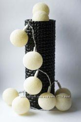 Гирлянда из тайских хлопковых фонариков 35шт Ivory