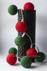 Гирлянды из тайских хлопковых фонариков 35шт Red-Green