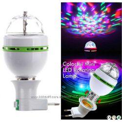 Светодиодная диско лампочка диско-шар переходник в розетку в комплекте