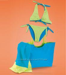 Обалденный комплект- Двухсторонний купальник и пляжная сумочка Игра цвета