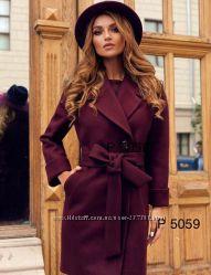 Пальто женское утепленное, марсала