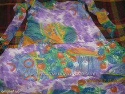 Разноцветный летний сарафан для беременных с регулирующимися бретелями