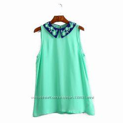 Блуза бирюзовая вышитая