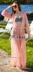 Модная пляжная туника розовый крем гипюр, цвета в ассортименте