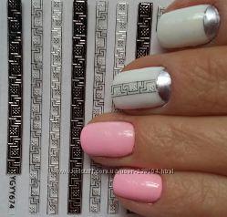 Наклейки для ногтей 3d, серебро