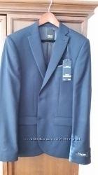 Коллекционный темно-синий пиджак. зауженного кроя из текстурированной ткани