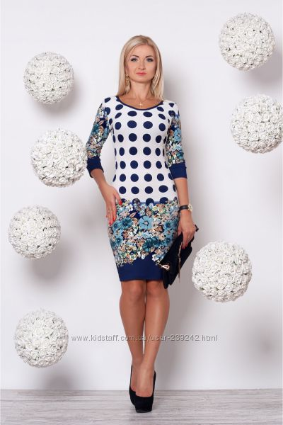 Платье молочно-синее в горох и цветочный принт