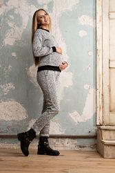Скидка. Зимний вязаный костюм для беременных и кормящих S-XXL