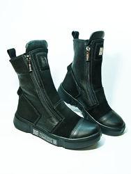 Зимние кожаные сапожки ботинки на девочку подростка