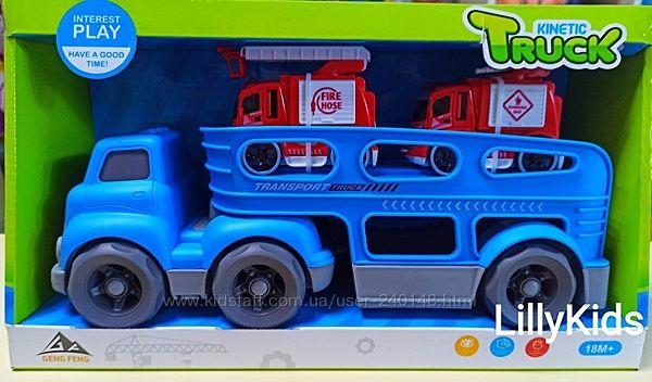 Машина автовоз з пожежними машинками, спецтехнікою 933-153, фура, трейлер