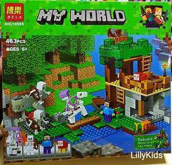 Конструктор Bela My World 10989 Нападение армии скелетов, 463 детали, Майнкр