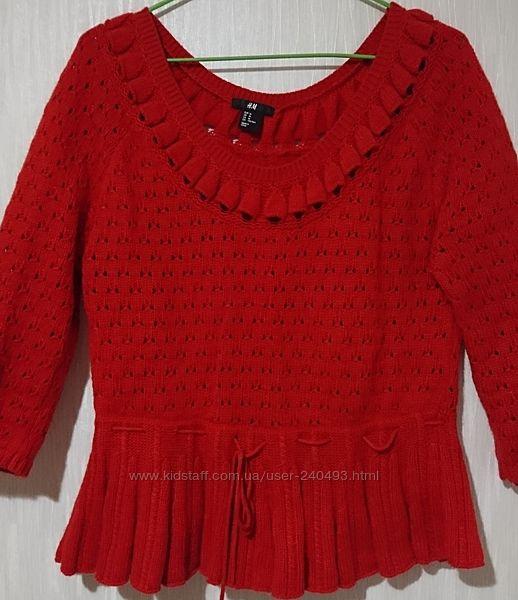 Свитер джемпер женский H&M ангора шерсть красный