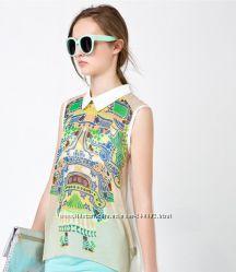 Женская блузка с цветочным принтом без рукавов