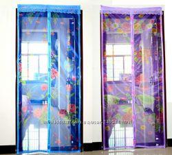 Антимоскитная сетка штора на дверь на магнитах  с рисунком 90 на 210