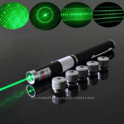 Зеленая лазерная указка 100 мВт с 5 насадками