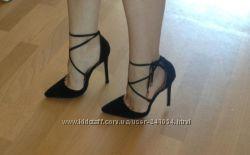 Туфли открытые на шнуровке лодочки шпилька