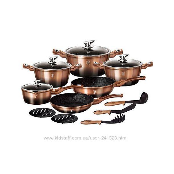Набор посуды 15 предметов Rose Gold Noir Berlinger Haus BH-1900