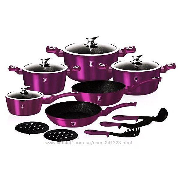 Набор посуды Berlinger Haus Metallic Line Royal Purple Edition 15 пр 1662