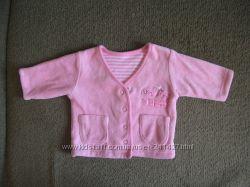 Кофточка на малышку розовая велюровая