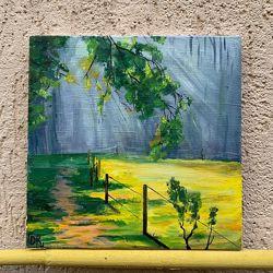 Картина Сонячна поляна в густому лісі