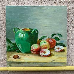 Яскравий натюрморт з персиками