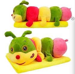 Детский плед игрушка подушка Гусеничка