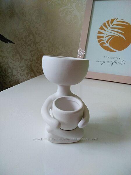Горшок - человечек кашпо цветы суккуленты для интерьера керамика