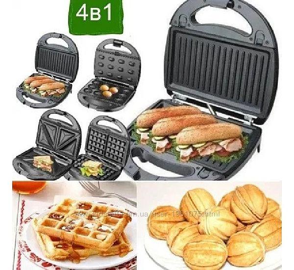 Вафельница, орешница, гриль, бутербродница 4в1 Livstar LSU-1219, 800 Вт