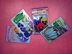 Семена. Набор японских семян - цветы и мини-дайкон Япония цена за 4шт