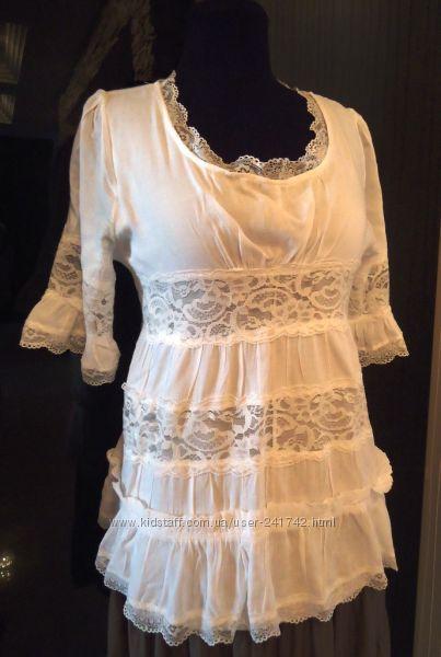 Нарядная батистовая блузка с кружевом