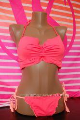 VICTORIA&acuteS SECRET VS Getaway Halter Bikini Top 57Z Coral Blaze