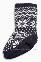 Теплые тапочки-носки, с меховым начесом внутри. Размер 12, 5-3, 5. Next